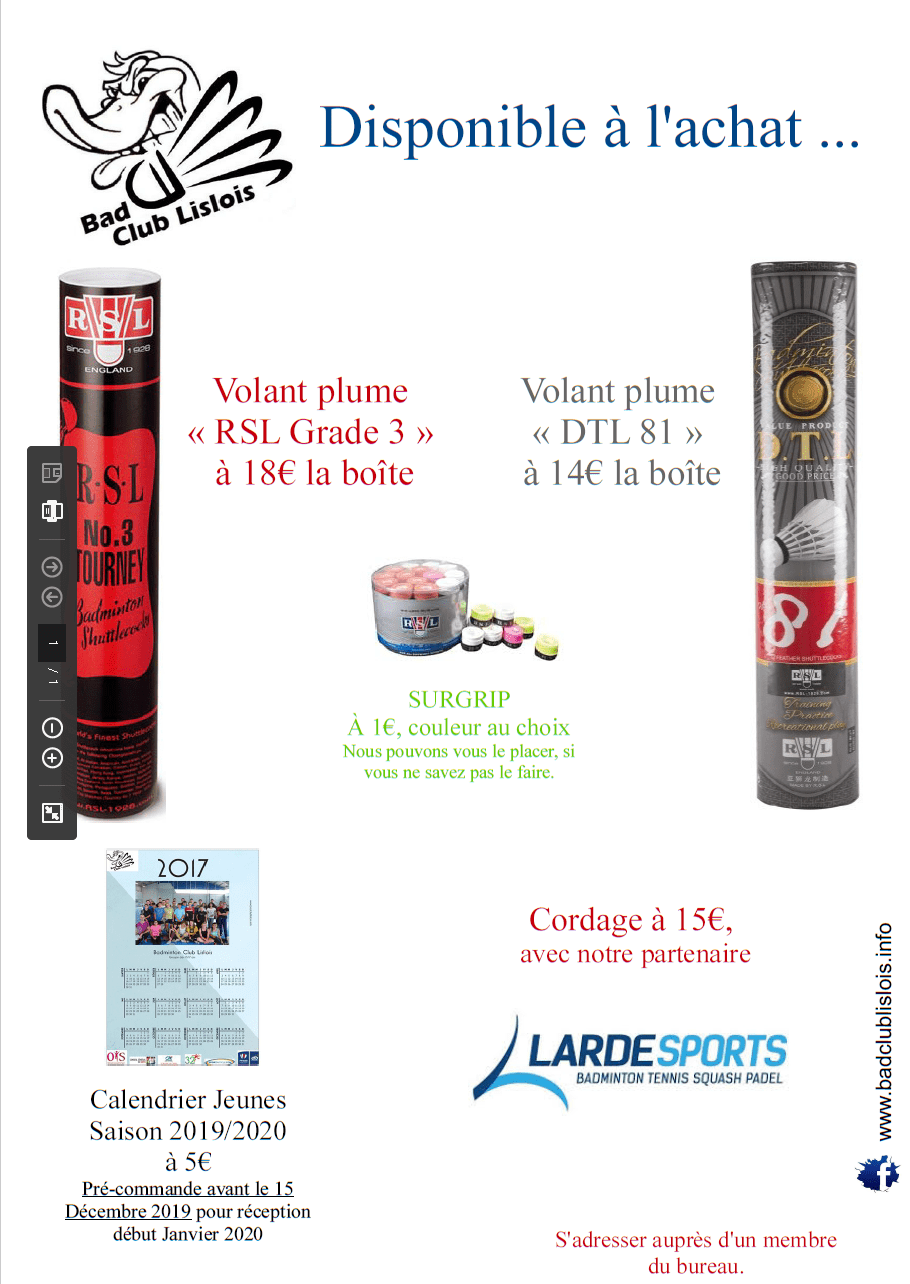Affiche Vente BCL 2019/2020